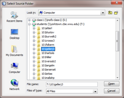 Select source folder